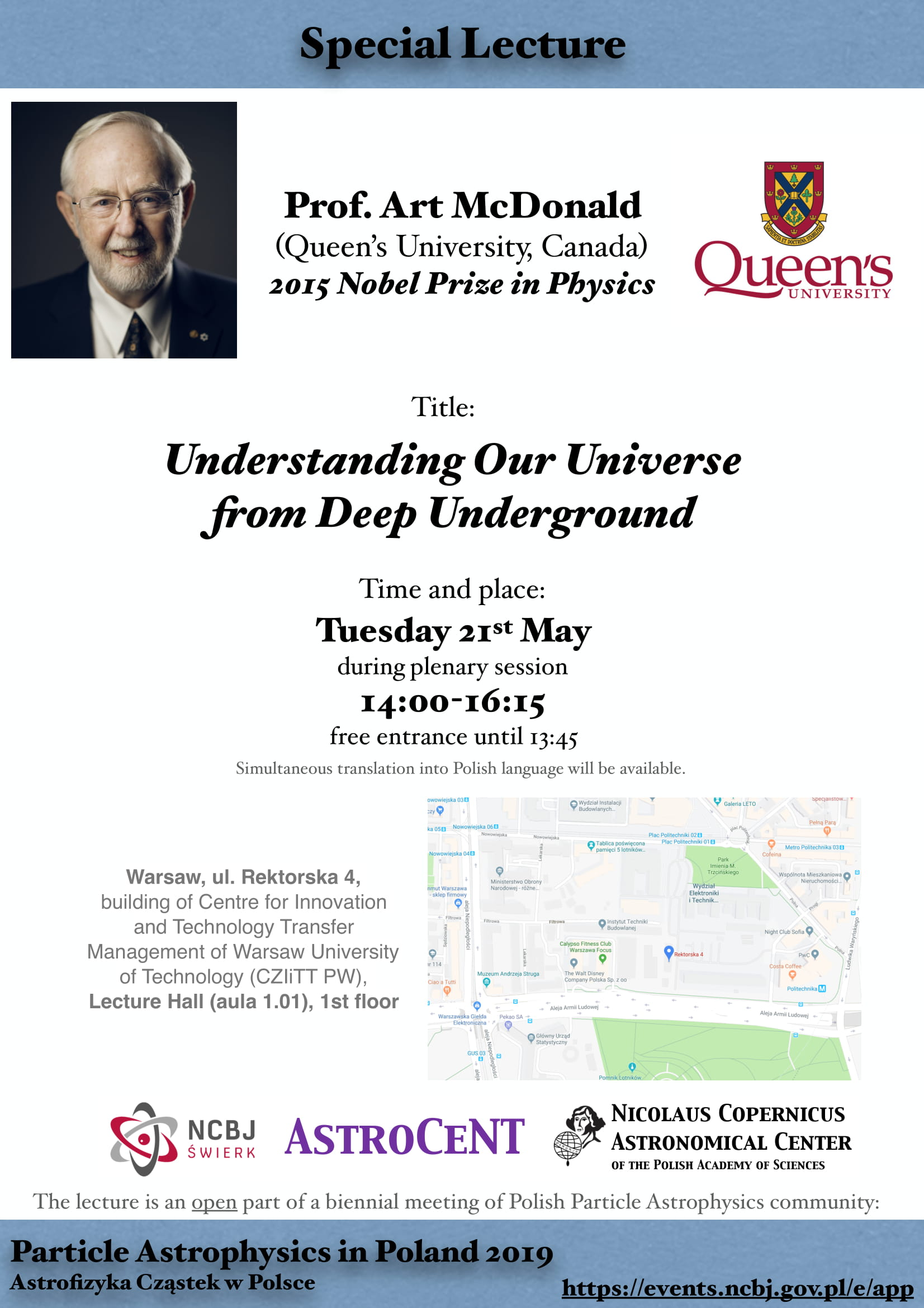Special Lecture - Prof. Art McDonald - Understanding Our Universe from Deep Underground