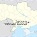 Elektrownia Jądrowa Zaporoże na mapie Ukrainy