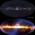Dwa zdjęcia Drogi Mlecznej: w pasmie widzialnym i w podczerwieni