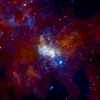 Zdjęcie otoczenia Sagittariusa A* wykonane przez teleskop kosmiczny Chandra, pracujący w zakresie promieni rentgenowskich. Credit: NASA/CXC/MIT/F. Baganoff, R. Shcherbakov et al.