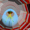Candidate event displays of a Higgs boson decaying into two muons as recorded by CMS. (Image: CERN)