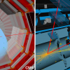 Candidate event displays of a Higgs boson decaying into two muons as recorded by CMS (left) and ATLAS (right). (Image: CERN)