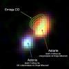 Dwie galaktyki widziane przez teleskop VISTA, z detekcją Astarte przez ALMA